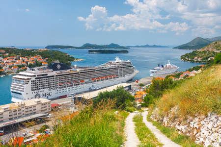 Dubrovnik, Croatia, JULY 02, 2010: Big Cruising ship of the MSC Magnifica in Croatian town Dubrovnik Redakční