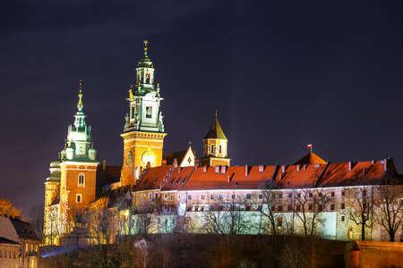 wawel: Wawel Castle in the night in Krakow, Poland