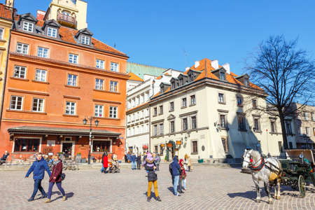 old town square: WARSAW, POLAND, 13 march 2016: Old town square in Warsaw in a sunny day. Warsaw is the capital of Poland