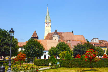 Historical centre of Medias, medieval city in Transylvania, Romania Editorial