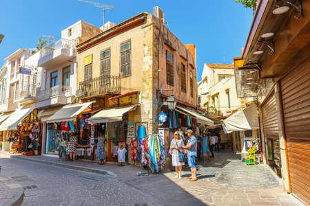 rethymno: Rethymno, Crete - 27 Maj, 2016 : Unidentified people visit historical centre of Rethymno City on Crete, Greece Editorial