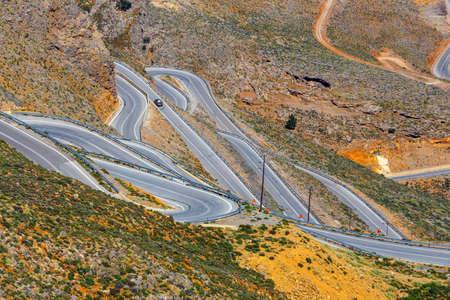 chora: New curvy road near Chora Sfakion town on Crete, Greece
