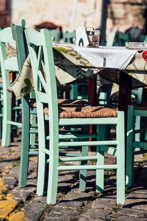 nook: Empty greek cafe on Crete Island, Greece Stock Photo