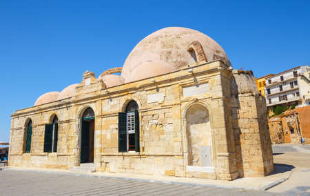 Mosque of the Janissaries or Giali Tzami Mosque in Chania on Crete, Greece. Stock Photo