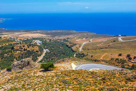 curvy road near Chora Sfakion town on Crete, Greece