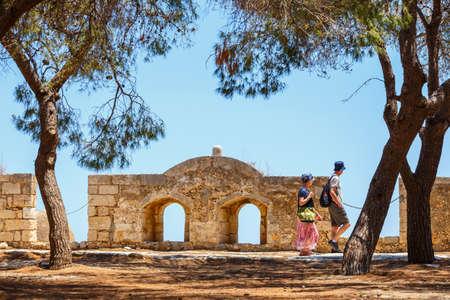 fortezza: Unidentified people visit Venetian fortress Fortezza in Rethymno, Greece