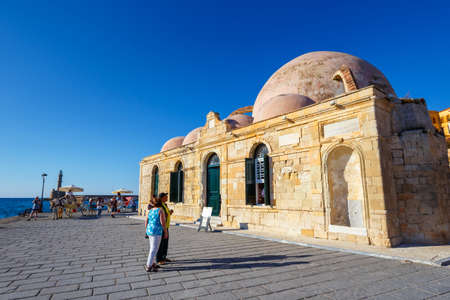 Chania, Crete - 23 Maj, 2016: View of Mosque of the Janissaries or Giali Tzami Mosque in Chania on Crete, Greece. Chania is the second largest city of Crete.