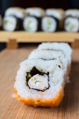 exotically: Close up of sushi, Japanese seafood Stock Photo