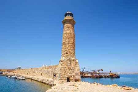old port: old port and Lighthouse in Rethymno, Crete, Greece Stock Photo