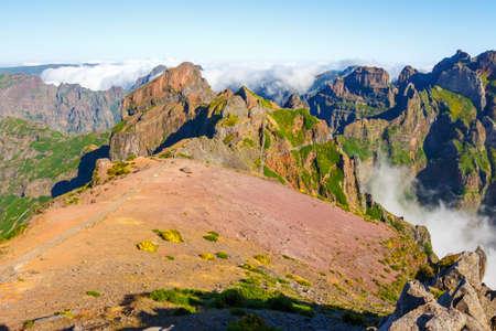 Pico Ruivo and Pico do Areeiro, beautiful mountain landscape, central Madeira, Portugal Stock Photo