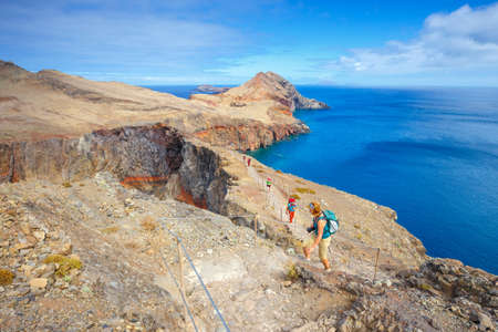 Madeira, Portugal 05 JULY, 2016: Unidentified people walking on the cliffs at Ponta de Sao Lourenco. Cape is the most eastern point of Madeira island Editorial