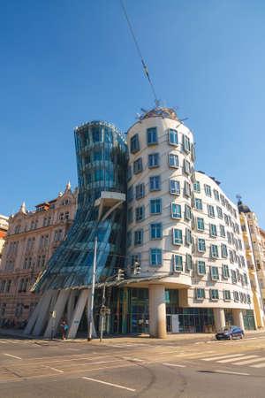 dancing house: Prague, Czech Republic, September 20, 2011: Dancing House - modern building designed by Vlado Milunic and Frank O. Gehry, Prague