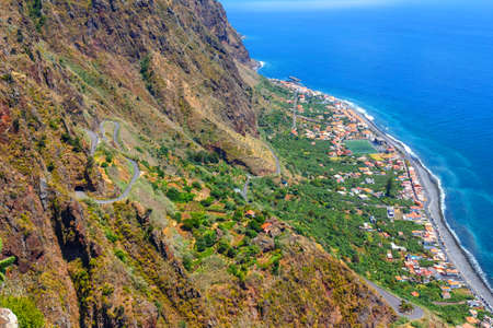 madalena: breathtaking view from the cliff on Madalena do Mar , Madeira, Portugal Stock Photo
