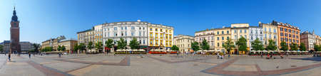 main market: KRAKOW, POLAND - September 16, 2016: Panoramic view of Main Market Square also known as The Cloth Hall in Krakow, Poland
