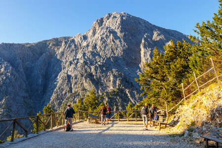 Samaria Gorge, Grece - MAY 26, 2016: Tourists hike in Samaria Gorge in central Crete, Greece. The national park is a UNESCO Biosphere Reserve since 1981 Editorial