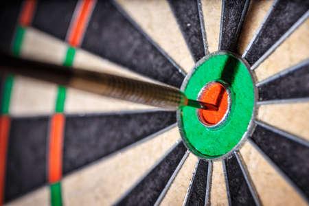 bulls eye: the  darts in bulls eye, close up Stock Photo