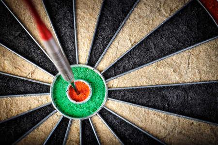 the  darts in bulls eye, close up Stock Photo