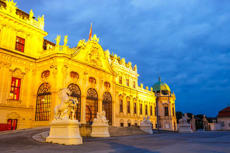 Night view of Belvedere palace  in Vienna, Austria Editorial