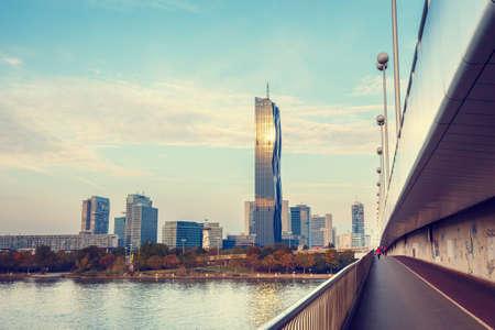 vintage look: Vienna skyline and Danube River, vintage look