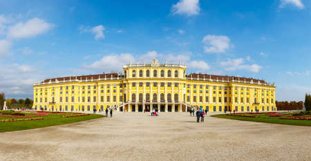 schoenbrunn: Vienna, Austria, October 14, 2016: Panoramic view of Schonbrunn Palace in Vienna. Baroque palace is former imperial summer residence located in Vienna, Austria