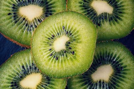 close up of scliced kiwi fruit