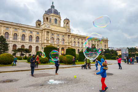 schonbrunn palace: Vienna, Austria - 13 October, 2016: View of famous Natural History Museum with park and sculpture in Vienna, Austria