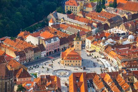 Aerial view of the Old Town, Brasov, Transylvania, Romania 写真素材