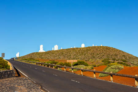Telescopes of the Astronomical Observatory Izana with Volcano El Teide in the background, Spain Stock Photo