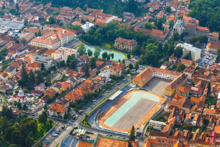 brasov: Aerial view of the Old Town, Brasov, Transylvania, Romania Stock Photo