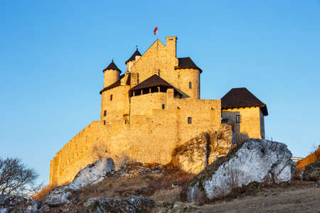 bobolice: medieval castle at sunset in Bobolice, Poland Editorial