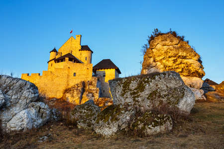 medieval castle at sunset in Bobolice, Poland Stock Photo