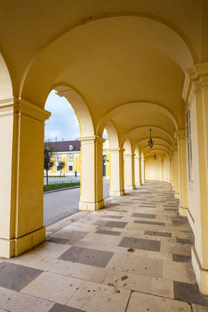 gloriette: Vienna, Austria, October 14, 2016: Schonbrunn Palace in Vienna. Baroque palace is former imperial summer residence located in Vienna, Austria Editorial
