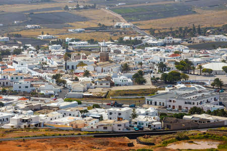 Top view on Teguise city from Castle hill on Lanzarote island in Spain, former capital of the island Stock Photo