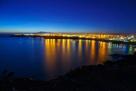 Beautiful sunset over Playa Blanca in Lanzarote Stock Photo