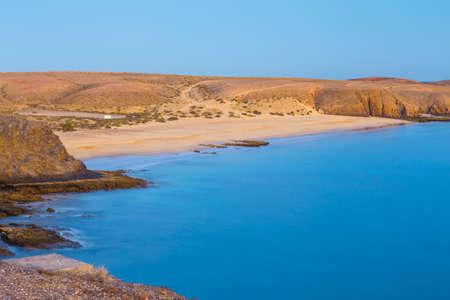 Papagayo Beach at sunset, Lanzarote Island, Spain Stock Photo