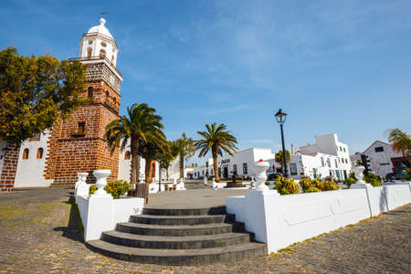 Tequise, Lanzarote Island, Spain - March 30, 2017: View of the city center of Teguise, former capital of the island of Lanzarote
