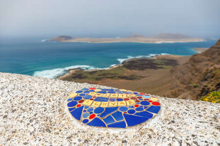 Impressive view from Mirador del Rio to island of La Graciosa, Lanzarote, Canary islands