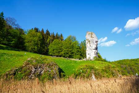 Pieskowa Skala, Poland, May 14, 2017: Limestone rock called Bludgeon of Hercules near Castle Pieskowa Skala, Krakow, Poland