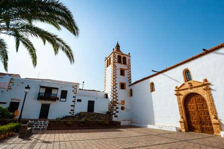 Central square with church in Betancuria village on Fuerteventura Island, Spain