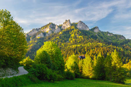 Spring in the Pieniny with Three Crowns mountain in the background Фото со стока