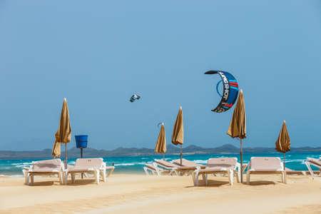 Corralejo, Fuerteventura, April 01, 2017: Unknown kitesurfers on a beach in Corralejo, Fuerteventura, Canary islands, Spain