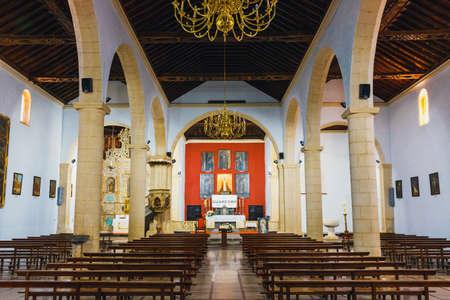 oliva: La Oliva, Fuerteventura, Spain, April 03, 2017: Interior of Church of Our Lady of Candelaria in La Oliva, Fuerteventura Island, Spain