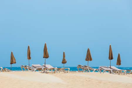 Sunny beach in Corralejo, Fuerteventura, Canary islands, Spain