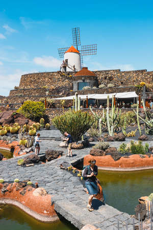 LANZAROTE - March 29, 2017: View of cactus garden in Guatiza, popular attraction in Lanzarote, Canary islands
