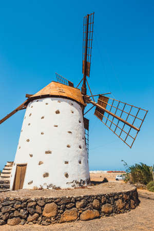 Traditional white stony windmill at Fuertaventura, Canary Islands, Spain