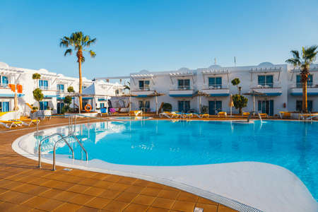 Corralejo, Fuerteventura, Spain, April 03, 2017: Swimming pool of the hotel complex Arena Hotel in Corralejo, Spain Editorial