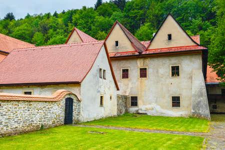 cloister: Famous Red Monastery called Cerveny Klastor in Pieniny mountains, Slovakia