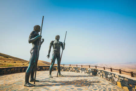 the statues at Mirador Corrales de Guize, Fuerteventura, Spain Stock Photo