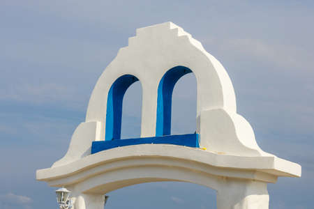 white and blue colors, Greek style architectural details Stock Photo