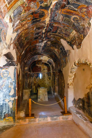 Crete, Greece, June 12, 2017: Interior of the three-aisled Byzantine Church Panagia Kera in the village Kritsa, Crete, Greece Editorial